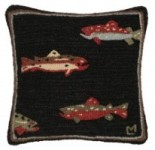 Hooked Wool Pillow - Rainbow trout on a black background