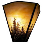 Wall Sconce with art glass pine tree painting